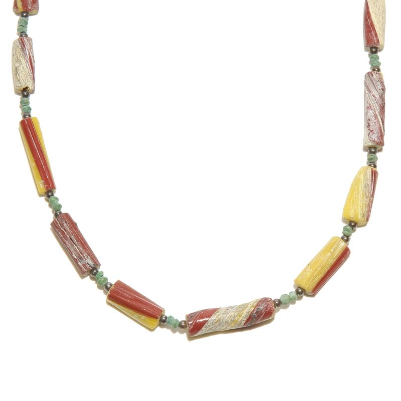 ローマングラス|ローマ帝国のアンティーク|マルチカラー|19inch|493mm ◇手作り ハンドメイド◇天然石|Afghan Necklace(アフガンネックレス)