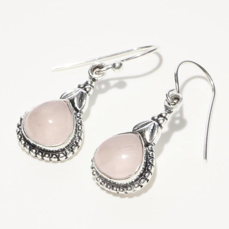 玉髄 雫型 ピンク カルセドニー SV925|天然石 フックピアス|ハンドメイド|Afghan Earring
