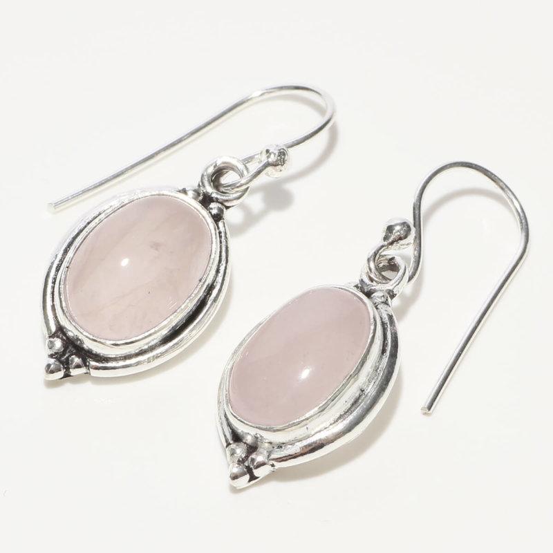 玉髄 オーバル型 ピンクカルセドニー SV925|天然石 フックピアス|ハンドメイド|Afghan Earring