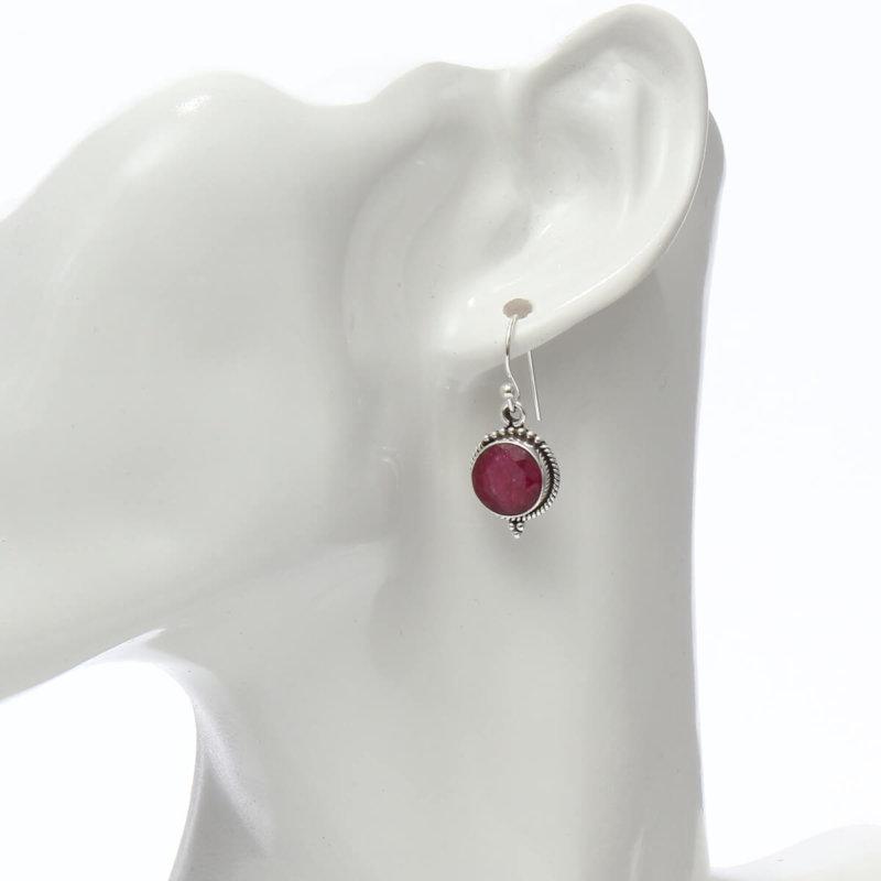 宝石の王様|丸型ルビー SV925|天然石 フックピアス|ハンドメイド|Afghan Earring