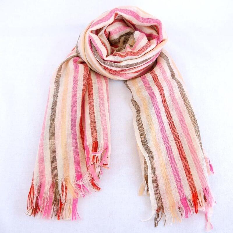 ALICE|手織り カシミヤ/パシュミナ100%|ストール|ストライブ|オフホワイト/赤・ピンク系マルチカラー
