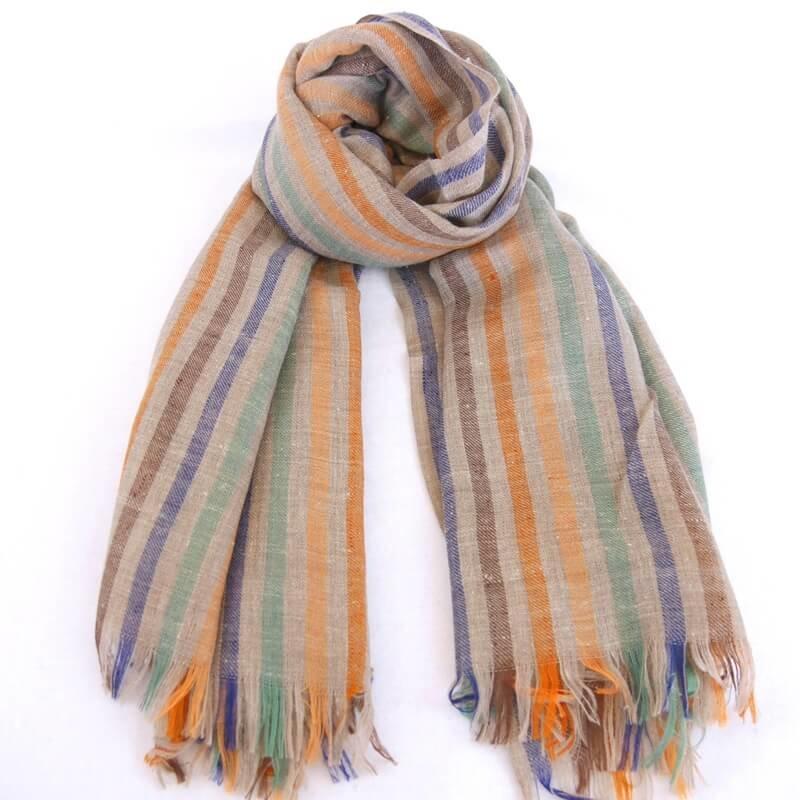 ALICE|手織り カシミヤ/パシュミナ100%|ストール|ストライブ|ネイチャー/オレンジ系マルチカラー