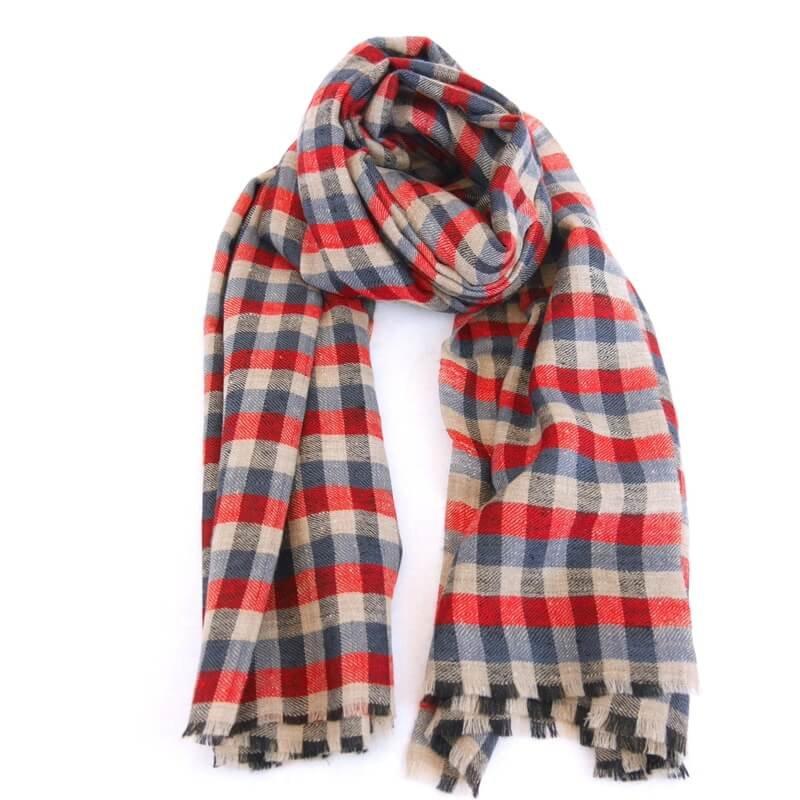 DORIS|手織り カシミヤ/パシュミナ100%|ストール|チェック|ネイチャー/赤/ブルー