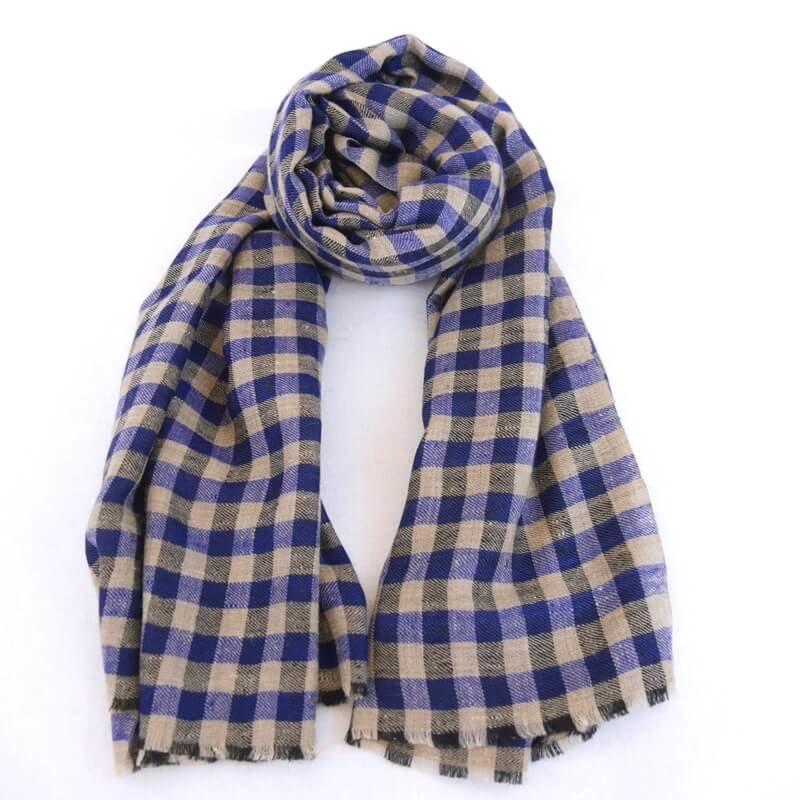 VERA|手織り カシミヤ/パシュミナ100%|ストール|チェック|ネイチャー/青/ブラック