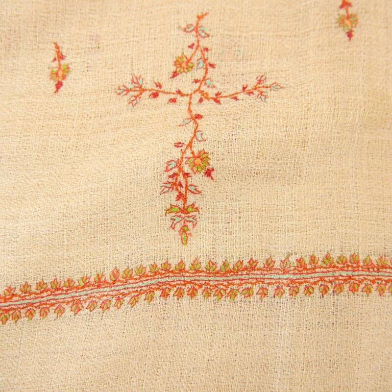 カシミヤ 手織り ショール|ソズニ刺繍 ジャマワール ブッティダール|手刺繍 パシュミナ|生地:ウッドブラウン|刺繍糸(5色):黄緑/エメラルドグリーン/オレンジ/レンガ色/エンジ
