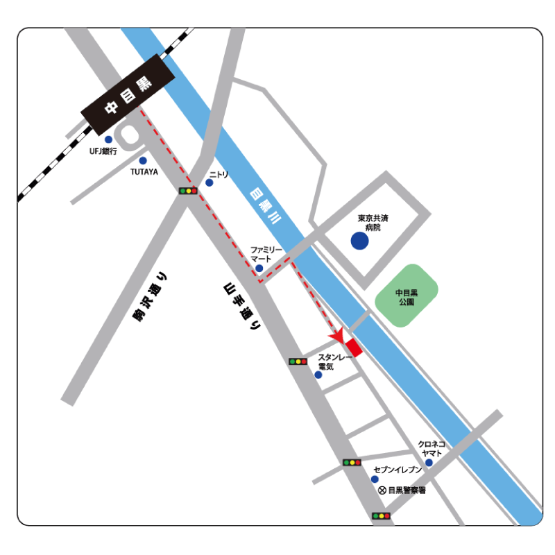 レンタルスペース 中目黒 目黒川沿い【地図】